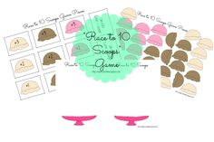Race to 10 Scoops: Math Game - Race to 10 Scoops works on counting to ten.  The game is pretty simple.  Once you have the game board and pieces printed (and laminated for durability), one player will draw a card and add that number of ice cream scoops to their bowl.  The first to ten scoops, wins!