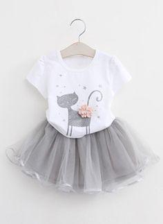 Girls  Cartoon Daily Short Sleeve Clothing Sets Bonito bd0e04f5c8d