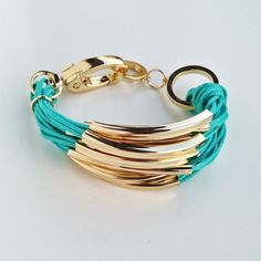 MULTI ROW TURQUOISE CORD & GOLD BRACELET