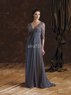 Wholesale Mother of the Bride Dresses -  V-neck Half Sleeve Lace Pleat Chiffon Floor Length Mother of the Bride Groom Dresses 2014 #564654, $139.0   DHgate