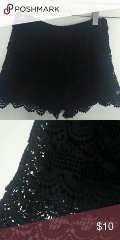 ZARA black crochet shorts Beautiful short shorts. Crocheted with layers and detail. Feel free to ask any questions and make an offer! :) Zara Shorts Skorts