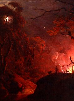 nigra-lux:  WRIGHT, Joseph (1734-1797) Cottage on fire at night, detailbetween circa 1785 and circa 1793Oil on canvasYale Center for British ArtEd. Orig. Lic. Ed.