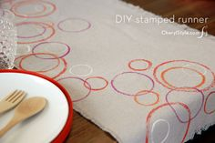 Stamped drop cloth runner - CherylStyle