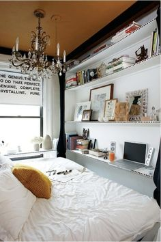 Small bedroom idea. Cool window shade with text