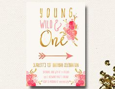 Hey, I found this really awesome Etsy listing at https://www.etsy.com/listing/515103126/girls-wild-one-birthday-invitation-first
