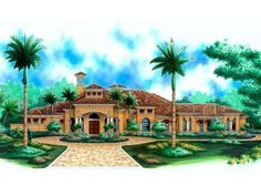 040H-0020: Luxurious Mediterranean House Plan with Huge Covered Lanai