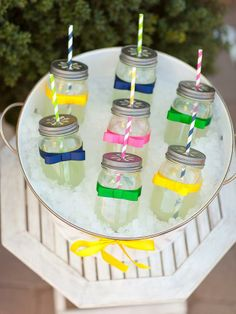 Cute way to have your lemonade for the kid's table for Easter.