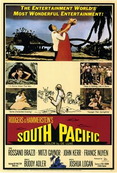 South Pacific movie poster | South Pacific Movie Posters From Movie Poster Shop. Based on James A. Michener's Pulitzer prize novel Tales of the South Pacific.