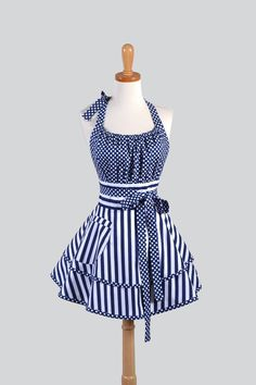 Flirty Chic Womens Kitchen Apron in Navy Blue Stripes and Dots by CreativeChics on Etsy Retro Apron, Aprons Vintage, Pinafore Apron, Childrens Aprons, Bodice Top, Cute Aprons, Linen Apron, Sewing Aprons, Half Apron