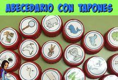 ABC con tapones_Eugenia Romero Busy Bags, Montessori, Logo, Ideas, Alphabet, Activities, Sentences, Teaching Resources, Blue Prints