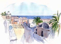 Alger - Dar Es-sultan, la citadelle - Peinture,  20x30 cm ©2010 par Catherine Rossi -