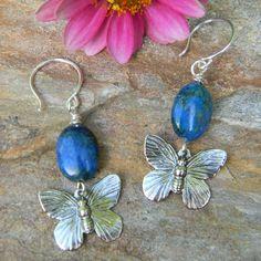 Butterfly earrings handmade jewelry blue by SongbirdCabinDesigns, $12.00