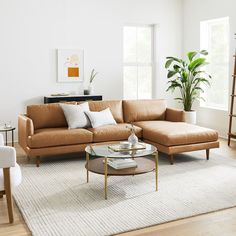 Haven Loft Set 02: Right Arm Sofa, Left Arm Chaise, Trillium, Sauvage Leather, Chalk, Pecan   West Elm Living Room Sectional, Living Room Sofa, Living Room Decor, Living Room Ideas Leather Couch, Sunk In Living Room, Attic Living Rooms, Attic Bedrooms, Tan Leather Sofas, Leather Sectional Sofas