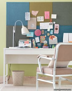 Home Office Organization: Make a colorful bulletin board out of carpet squares. Carpet Square Bulletin Board Tutorial