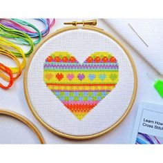 Introduce yourself to the world of stitching with this Beginners Heart tutorial kit. Perfect for beginners and children, the vibrant heart features lots of different colours for a fun finish. Cross Stitch Needles, Cross Stitch Heart, Modern Cross Stitch, Cross Stitch Kits, Cross Stitch Designs, Cross Stitch Patterns, Needlepoint Patterns, Cross Stitching, Cross Stitch Embroidery