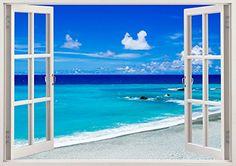 Beautiful beach wall art design window, beach wall decals clear water, colorful beach sand sky for nursery baby children kids room