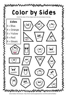 Color by Shape Worksheets ~ I love this! Great way to review #geometry with elementary students. FREEBIE by Olivia Walker | Teachers Pay Teachers