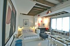 Marais designer 1BR, close to everything, up to 4 guest - Saint-Gervais Paris Airbnb, Loft, King Bedroom, Second Floor, Bunk Beds, Dining Area, Living Room, Studio, Furniture