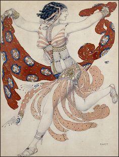 Fashion Influences: Ballets Russes of Sergei Diaghilev. Bakst's costume design for Cléopâtre.