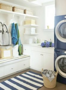 rethink position of washer/dryer? LOVE this mudroom/laundry but will probably be bringing our side by side ones. and our mudroom/laundry is going to be small. Mudroom Laundry Room, Laundry Room Design, Laundry Shelves, Laundry Room Inspiration, Love Home, Sweet Home, Shabby Chic, House Design, Interior Design