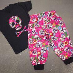 Pink Mexican sugar skull baby girls alternative punk trousers www.alternatots.com