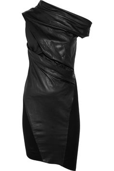 Helmut Lang Asymmetric leather and wool dress | the outnet