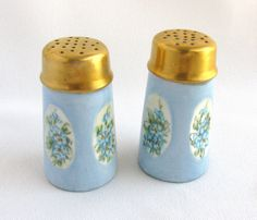 Antique Hand Painted Bavarian Salt and Pepper by MeadowLaneVintage