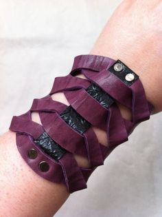 Twisted Glad Gladiator Style Purple Distressed Lamb Leather Bracer Cuff by DejaLaVogue, $38.00