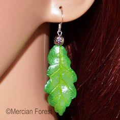 Oak Leaf Earrings in Spring Tones - Sacred Oak, Pagan Jewellery, Druid, Wiccan Pagan Jewelry, Pentacle, Leaf Earrings, Wiccan, Sculpting, Polymer Clay, Hand Painted, Jewellery, Beads
