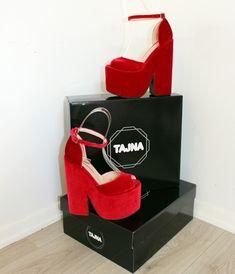 584291cd7104 Dark Red Velvet High Heel Wedge Platform Shoes – Tajna Club Red Platform