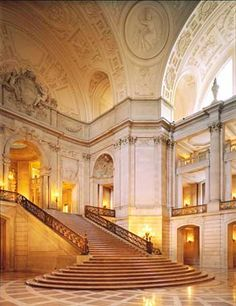 staircase from ballroom to living area (this is SF city hall)