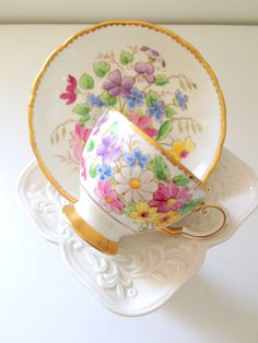 Vintage English Bone China Tuscan Tea Cup and by MariasFarmhouse, $55.00