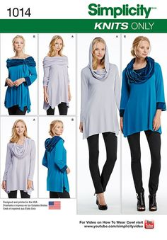 Simplicity Sewing Pattern 1014 Misses Knit Tunics Knit tunics sized XXS to XXL can be worn in a variety of ways for different looks. Tunic Sewing Patterns, Jumper Patterns, Tunic Pattern, Simplicity Sewing Patterns, Clothing Patterns, Sewing Paterns, Modern Patterns, Diy Clothing, Sewing Clothes
