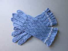Beatiful Hand Knit Wool Gloves with Seed Beads