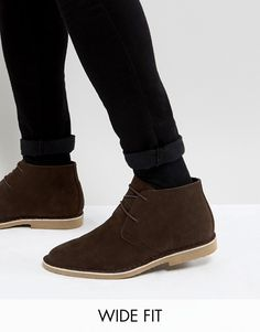 416ec35bb57 Wide Fit Desert Boots In Brown Faux Suede