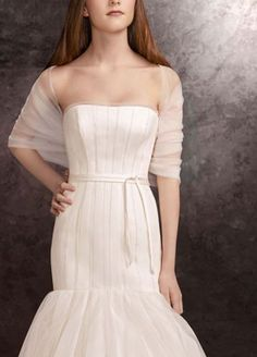 White by Vera Wang tulle draped cover-up.  Tulle draped cover-up.  Available in Ivory.  Imported.