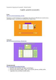 Outils en ligne, logiciels pour développer des compétences dans le domaine de la géométrie et la construction de l'espace. Propositions Michèle Drechsler