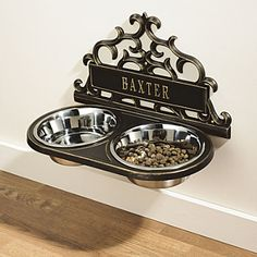 WallMount Pet Feeder - I love this, its super cute. No more moving the Dogs bowl  to sweep.