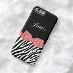 A cute black and white zebra print pattern slim #iPhone6case with a stylish coral pink ribbon tied into a pretty bow. This chic animal print fashion accessory with cayenne red accents can be personalized by adding the name of your teen girl.
