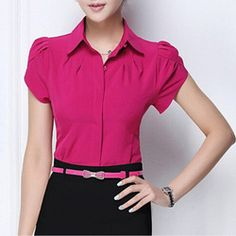 2015 New Lady Office Shirt Women's Tops Butterfly Short Sleeve Turn-Down Collar Rose Red White Women Chiffon Blouse