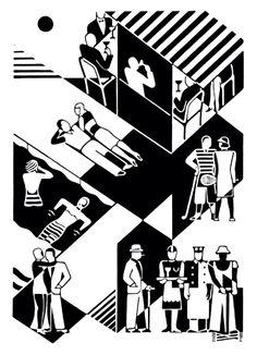 Gerd Arntz (1900-1988) foi um gravurista e designer gráfico modernista e comunista alemão, famoso pelo desenho extremamente sintético de suas gravuras. Trabalhou com Otto Neurath na realização do sistema de linguagem visual ISOTYPE.
