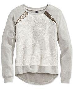 Jessica Simpson Girls' Brody Metallic Sparkle Raglan-Sleeve Sweatshirt