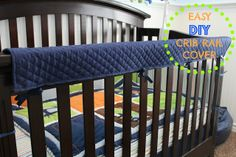 Struggling to find a crib rail cover that coordinates with your nursery decor? Try this DIY crib rail cover in your favorite color! Crib Rail Guard, Crib Rail Cover, Diy Interior, Diy Crib, Bed Rails, Baby Crafts, Crib Bedding, Baby Sewing, Future Baby