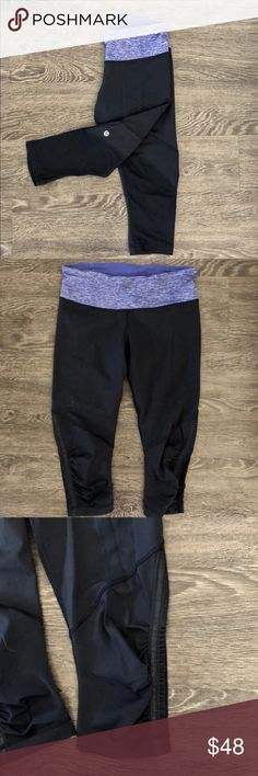 NWOT LULULEMON Black Crops Lululemon Black Crops with heathered purple waistband  🔹ruffled detail (see pics)  🔹hits below the knee  🔹size: 6  🔹NWOT lululemon athletica Pants Leggings
