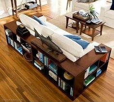 Bookshelves...minus the sides and combined with desk and standup shelf... so good when you want to combine living/ reading and working space