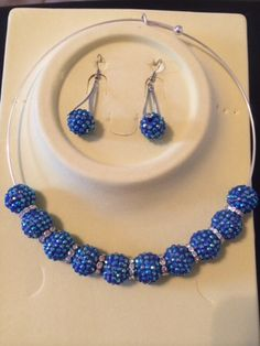 # 416: Blue Disco Ball Earrings & Choker Set $15.00 (+ Shipping) to Purchase item please email Leonie at leonie@rsgiftsandfashions.com. You will receive an email response within 24hours. All payments are made through paypal.( Order 4 or more Items & Shipping is FREE!!!!). http://www.rsgiftsandfashions.miiduu.com/