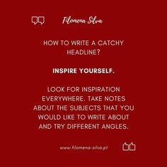 How to write a catchy headline?  Inspire yourself. ☺️ Look for inspiration everywhere. Take notes about the subjects that you would like to write about and try different angles.  #contentproduction #contentmanagement #creativemarketing #advertisingcampaign #videomarketingtips #digitalcontent #contentcreation #contentdevelopment #creativestrategy #contentwriter #instagrammanagement #copy #copywriting #copywritingtips #copywritingservices #copywritingservice #copywritingforcreatives…