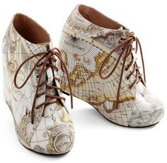 Map print wedges - I love maps, but I never thought to put them on shoes!