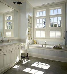 New farmhouse bathroom window coverings master bath ideas Master Bathroom Tub, Bathroom Sconces, Bathroom Flooring, Bathroom Cabinets, Bathroom Wall, White Bathroom, Wall Cabinets, Bathroom Photos, Bathroom Shelves