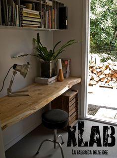 tavolo scrivania da parete in legno massello xlab design